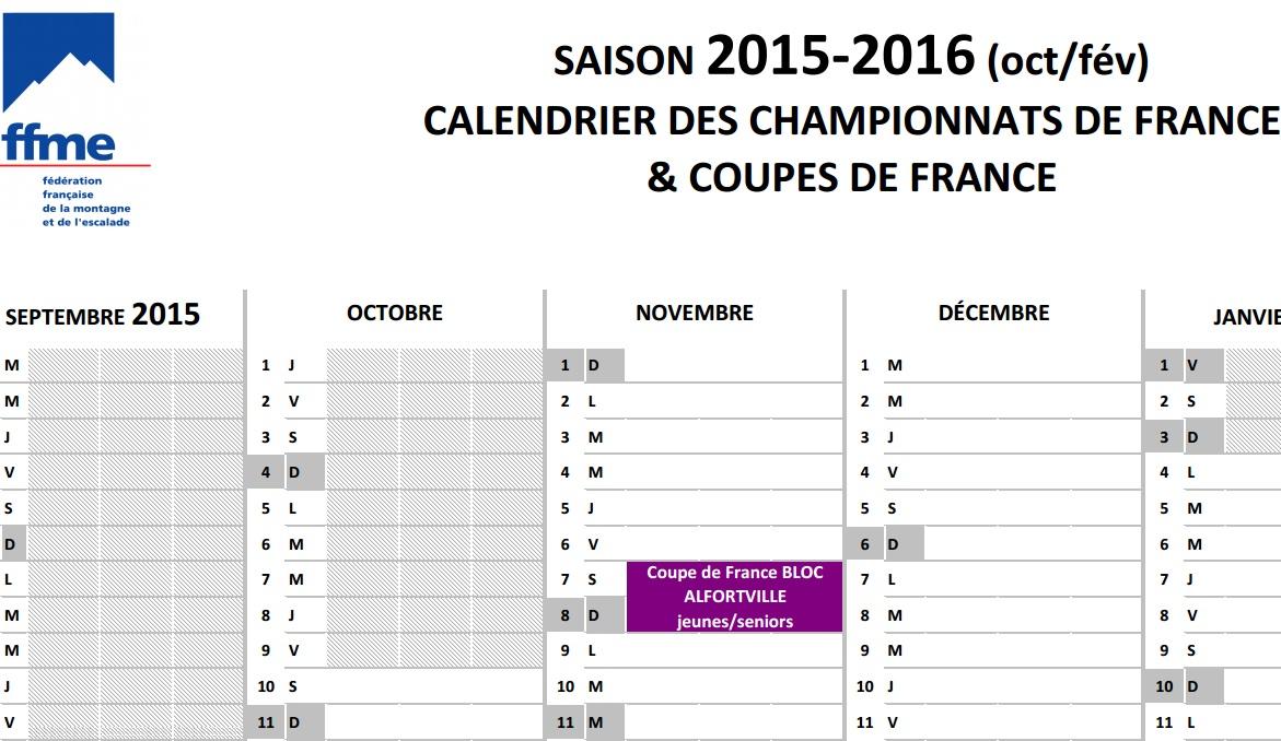 Calendrier des coupes de france championnats de france - Calendrier de la coupe de france 2015 ...