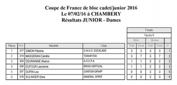 Les r sultats des finales cadets et juniors de la coupe de france de chamb ry planetgrimpe - Resultats de la coupe de france ...