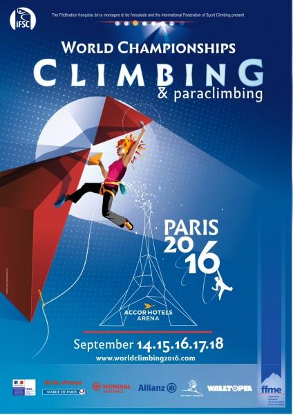 Affiche officielle des Championnats du monde d'escalade de Paris 2016