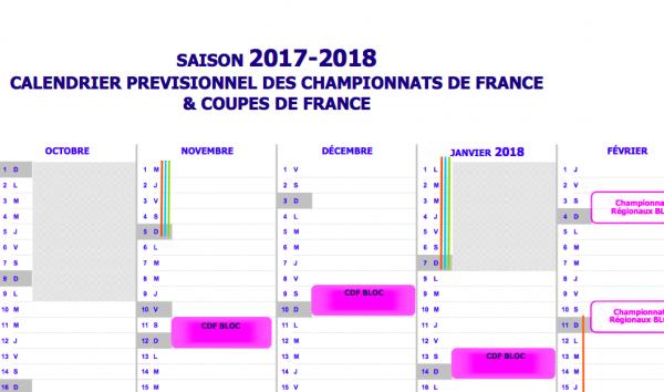 09fe4bf05be Calendrier prévisionnel des compétitions pour la saison 17 18 ...